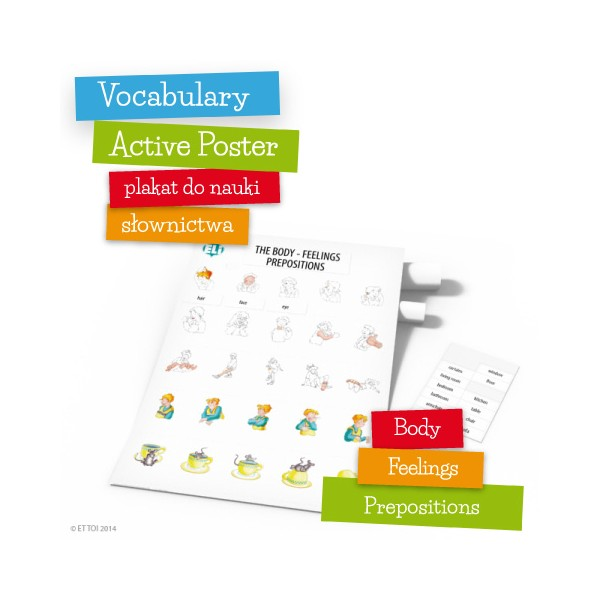 Vocabulary Active Poster Body Feelings Prepositions z zawieszką